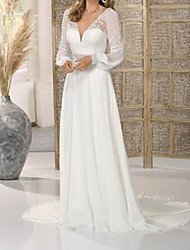 cheap -A-Line Wedding Dresses V Neck Floor Length Chiffon Long Sleeve Country Simple with Lace 2020