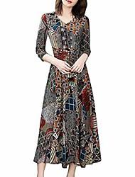 cheap -womens dresses, shobdw ladies long-sleeved waist long dresses v-neck floral print a-line cropped sleeve dress female loose blouse fashion plus size t-shirt clothes(black,4xl)