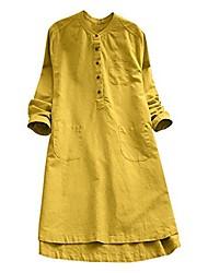 cheap -hot elegant ladies women retro long sleeve casual loose daily party tunic button tops blouse mini shirt dress (y1-yellow, 44 de / xl cn)