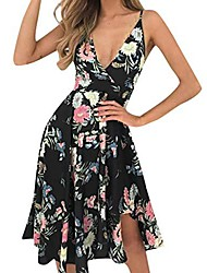 cheap -rovinci women's casual floral printed sleeveless off shouder v-neck girls dresses boho knee-length fit and flare summer beach sundress bohemian daily party evening open back sexy dress black