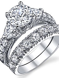 cheap -silver engagement ring bridal rings with cubic zirconia cz size 5