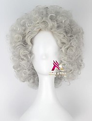 cheap -Synthetic Wig Curly Asymmetrical Wig Short Grey Synthetic Hair 16 inch Men's Comfy Fluffy Gray