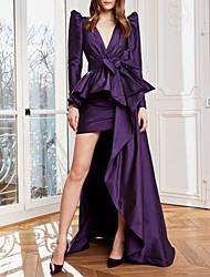 cheap -Sheath / Column Luxurious Elegant Wedding Guest Formal Evening Dress V Neck Long Sleeve Asymmetrical Taffeta with Bow(s) Pleats 2021