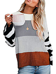 cheap -women juniors casual oversized crewneck color block striped long sleeve loose lightweight knit pullover sweater grey xl