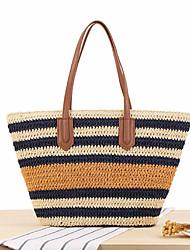 cheap -striped shoulder bag straw beach bag tote bag handbag