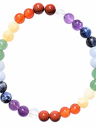 cheap -charged natural 7 chakra (amethyst, sodalite, blue, green, yellow aventurine, carnelian agate, red jasper - clear quartz spacers)crystal 6mm bead bracelet + selenite charging heart [included]