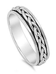 cheap -sterling silver 5mm braided spinner ring - size 11