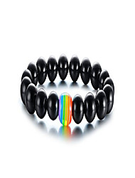 cheap -black agate gay pride rainbow relationship bead bracelets,equality jewelry,couples gay wedding gift