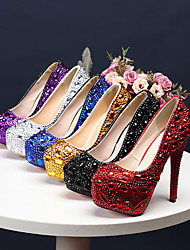 cheap -Women's Wedding Shoes Platform Round Toe Wedding Pumps Vintage Sexy Roman Shoes Wedding Party & Evening PU Rhinestone Crystal Sparkling Glitter Solid Colored Color Block Black Purple Red