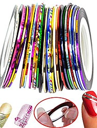 cheap -multicolour v everlasting mixed colors rolls striping tape line nail tools beautiful metallic yarn nail art (random color)