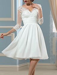 cheap -A-Line Wedding Dresses V Neck Knee Length Chiffon Lace 3/4 Length Sleeve Beach Vintage Little White Dress 1950s with Pleats 2021