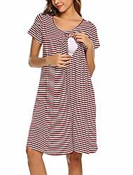 cheap -breastfeeding keerads striped short-sleeved casual loose multi-functional breastfeeding dress pajamas red
