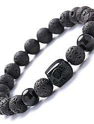 cheap -men,women 8mm lava rock beads essential oil bracelet black healing energy stone gemstone buddha head bracelet (obsidian buddha bracelet)