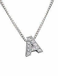 cheap -necklaces, glitter rhinestone inlaid 26 letter charm chain clavicle necklace couple jewelry - a