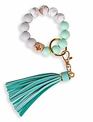 cheap -silicone key ring bracelet, women beaded bangle keychain wristlet leather tassel