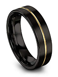 cheap -tungsten wedding band ring 6mm for men women 18k yellow gold plated flat cut center line black brushed polished size 15