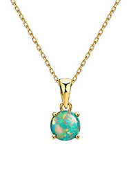 cheap -18k gold plated opal pendant necklace 4 prongs setting solitaire fine jewelry for women