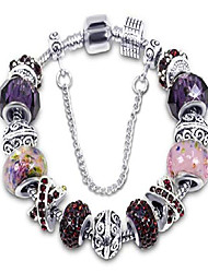 cheap -silver tone charm bracelet with purple crystal and murano glass beads snake chain for women & girls