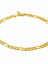 cheap -lifetime jewelry 5mm figaro chain anklet for women and men 24k real gold plated (10.0)