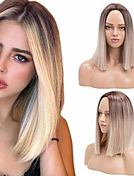 cheap -ombre blonde short bob wig synthetic silky straight wigs heat resistant fiber wig for women girls(ombre blonde,14inch)