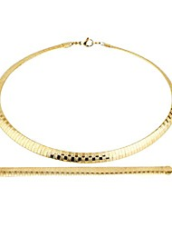 cheap -stainless steel omega chain 8mm solid 18 inch necklace and 8.5 inch bracelet ste (gold)