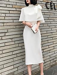 cheap -Sheath / Column Minimalist Elegant Party Wear Cocktail Party Dress High Neck Half Sleeve Tea Length Spandex with Sash / Ribbon Bow(s) 2021