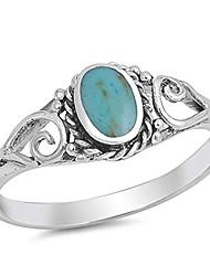 cheap -sterling silver simulated oval turquoise antique ring sizes 4-11 (4)