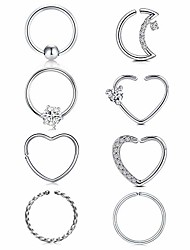 cheap -16g 20g daith tragus earrings hoop surgical steel helix cartilage hoop earring heart moon cz small hoop earring fake nose rings septum piercing jewelry silver