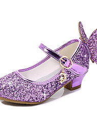 cheap -Girls' Heels Moccasin Flower Girl Shoes Princess Shoes Rubber PU Little Kids(4-7ys) Big Kids(7years +) Daily Party & Evening Walking Shoes Rhinestone Buckle Sequin Black Purple Red Fall Spring