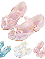 cheap -Girls' Flats Flower Girl Shoes Princess Shoes Halloween Synthetic Microfiber PU Little Kids(4-7ys) Big Kids(7years +) Casual Dress Buckle Sequin White Blue Pink Fall Winter