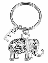 cheap -initial e elephant charm keychain large lucky elephant keyring elephant lover accessory strength friendship gift for girls women