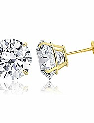 cheap -tioneer 14k solid yellow gold cubic zirconia round-cut solitaire stud earrings for women and men, screw-back, 4 mm
