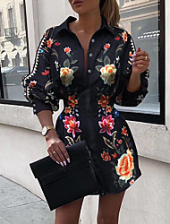 cheap -Women's A-Line Dress Short Mini Dress - 3/4 Length Sleeve Print Patchwork Print Spring Fall Shirt Collar Formal Sexy Going out Slim 2020 Black S M L XL XXL