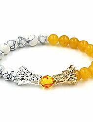 cheap -natural black lava & white howlite stone beads bracelet mens jewelry buddha dragon bead bracelet for women whiteyellow