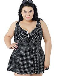 cheap -women's plus swimdress printed/dot swimsuit beachwear with skirt black us 16w-18w