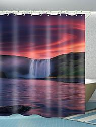 cheap -Huoyun Waterfall River Digital Printing Shower Curtain Shower Curtains  Hooks Modern Polyester New Design