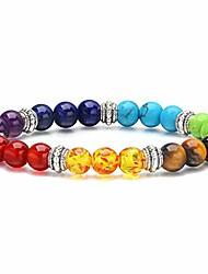 cheap -7 chakra yoga meditation bracelet reiki healing crystal stone stretch bracelets natural gemstone beads elastic bracelets for women men - silver