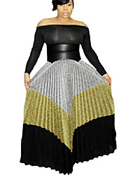 cheap -women metallic color block ribbed shiny shimmer a line pleated maxi long skirt floral xl
