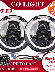 cheap -2 Pcs 7 Inch LED Headlight DRL Halo Angle Eyes Led Headlamp High Low Turn Signal for Lada Niva Offroad 4x4