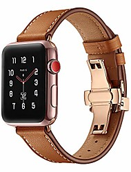 cheap -applewatch 1/2/3 first layer genuine made bow button watch band(rose gold pending offers) (brown, 38mm: 14-21cm)
