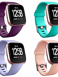 cheap -4 packs straps compatible with fitbit versa/versa 2/fitbit versa lite for women and men, classic soft silicone sport strap replacement wristband for fitbit versa smart watch