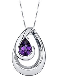 cheap -amethyst sterling silver wave pendant necklace