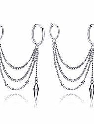 cheap -punk jewelry stainless steel huggie hinged hoop earrings cone tassel long chain dangle drop earrings