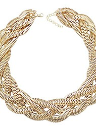 cheap -qq fashion vintage gold egyptian cleopatra style bold snake braided chain statement bib necklace,19.7-inch