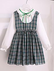 cheap -Kids Little Girls' Dress Plaid Patchwork Bow Red Green Above Knee Long Sleeve Cute Sweet Dresses