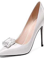 cheap -pumps for woman, lady's crystal button high heels pointed toe pumps patent shoes for dress party white size 6 us