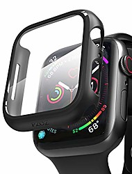cheap -apple watch series 6/5/4/se screen protector 44mm,iwatch pc case pet film all-around bumper protective cover compatible with i watch smartwatch accessories (black)