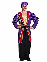 cheap -halloween men's arab sultan maharajah cosplay costume christmas party dress-up outfit (shirt,coat,belt,hat)-medium