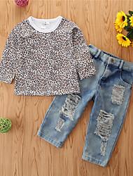 cheap -Toddler Girls' Clothing Set Leopard Long Sleeve Cotton Casual Khaki Basic Regular Regular