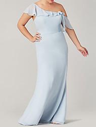 cheap -Sheath / Column One Shoulder Floor Length Polyester Bridesmaid Dress with Ruffles